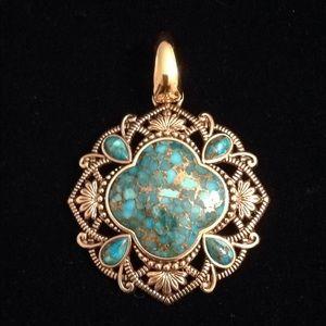 Studio Barse Bronze/Turquoise Clover Pendant
